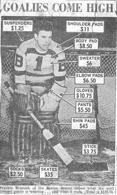 Although I didn't start going to Boston Bruins hockey games until the the equipment still looked pretty much like this (with Terry Sawchuck and Don Simmons wearing it). Hockey Goalie, Hockey Mom, Field Hockey, Hockey Players, Hockey Stuff, Goalie Gear, Hockey Pictures, Hockey Party, Hockey Rules