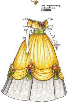 Liana's Paper Doll Blog » 1863 Ball Gown in Yellow with Green Ribbons over White Lace Skirt with Harvest Trimmings for Thanksgiving