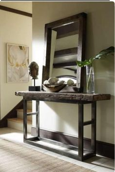 Classic Home Jaden Collection Reclaimed Wood Console Table - From Moores Home Furnishings. Decoration Hall, Entryway Decor, Rustic Entryway, Entryway Ideas, Rustic Hallway Table, Hallway Ideas, Rustic Wood, Rustic Console Tables, Fall Entryway