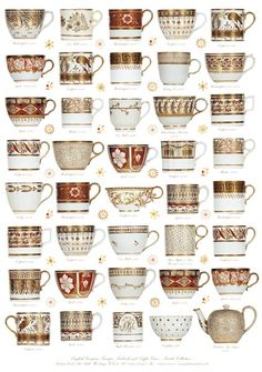 English Georgian cups 1790 - 1825  :: Coral and Gold were a very popular colour combination in the Regency period. As rooms were lit by candlelight, the china would have reflected the light. Most of these cups are from the Staffordshire factories.