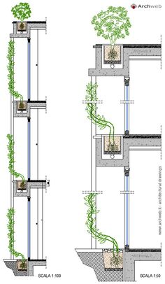 Vertical garden drawings With all the environmentally friendly and sustainabl. Vertical garden drawings With all the environmentally friendly and sustainabl… Vertical gard Green Architecture, Sustainable Architecture, Residential Architecture, Architecture Details, Landscape Architecture, Green Facade, Garden Drawing, Facade Design, Green Building