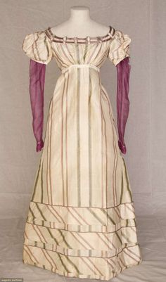 Silk Stripe Taffeta dress, England, early 1820s. (Under sleeves are a magenta wool.) Augusta Auctions