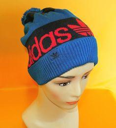 30dd77e7782 Adidas Beanie Ski Hat Vintage Signature Trefoil Logo Acrylic Snow Cap Blue  (22 1)
