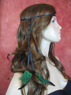 1 BOHO Feather Headband Hair Extension, Hippie Beaded Leather Wrap Ponytail Holder. $14.50, via Etsy.