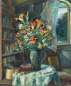 David Davidovich Burliuk (Rusia, 1882 - EUA, 1967) - Naturaleza muerta con lirios anaranjados, 1954. Óleo sobre lienzo, 76.5 x 63.5 cm (colección privada)