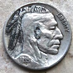 ANNIE DOGWOOD HOBO NICKEL - INDIAN BRAVE - 1935 BUFFALO PROFILE Hobo Nickel, Annie, Brave, Buffalo, Carving, Profile, Indian, Personalized Items, User Profile