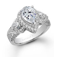 NK15191-W - 14k White Gold Pear Shaped Side Stone Diamond Engagement Ring #Renaissance #diamonds #ring