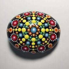 Hand Painted Mandala Stone, Mandala Meditation Stone, Dot Art Stone, Healing Stone, #452 by MafaStones on Etsy