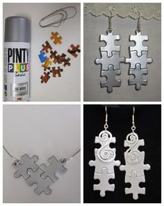 How to make homemade jewelry making crafts for kids - jewelry - Puzzle Jewelry, Kids Jewelry, Jewelry Crafts, Jewelry Making, Recycled Jewelry, Recycled Crafts, Resin Crafts, Recycled Magazines, Puzzle Piece Crafts