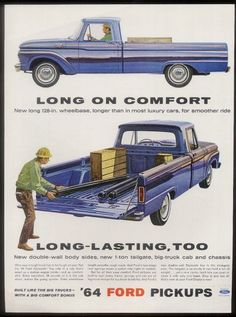 1964 Ford F-100 2 blue pickup truck vintage print ad