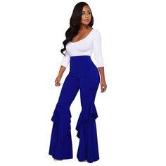 7f86360c23 Women Golf Clothing - Womens Pants [Fit Flared Frill Hem Palazzo Pants ]  High Waist Pants [Comfy Stretch Elasticity ] Bell Bottom Trousers Blue XL