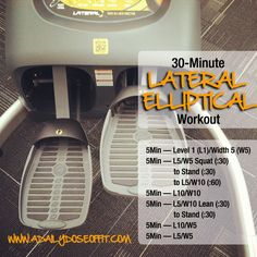 A 30-minute lateral elliptical workout that will train your glutes, hamstrings and quads. And get your heart rate up.
