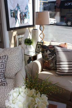 The Nest Egg in Fairfax, VA Lee Industries Sectional & Chair Stuart Lawrence Designs & Dash & Albert pillows, Regina Andrew lamp