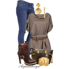 """Vic Matie Brown Leather Bootie"" by arjanadesign on Polyvore"