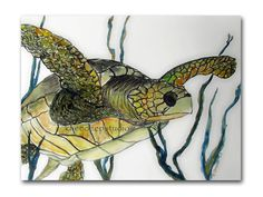 Sea Turtle Watercolor Painting Original 9x12 Fine Art in Mat and Frame Ready to Hang Nature Ocean Sea Reptile Wildlife Art Modern Realism