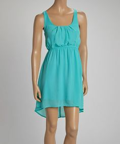 Love this Mint Pleated Hi-Low Dress - Women by Passarella on #zulily! #zulilyfinds