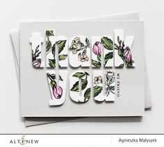 Check out this beautiful thank you card with bold alphabets cut out of white cardstock and beautiful floral stamps are used to decorate them.  http://altenew.com/products/remember-this