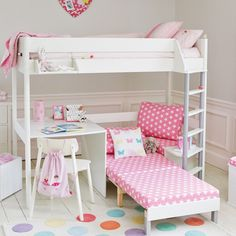 Merlin High Sleeper White (with Pink Star sofa bed) Cabin & Mid Sleeper Beds Girls Cabin Bed, Bed For Girls Room, Girl Room, Girls Bedroom, Bedrooms, Kids Cabin Beds, Sofa Bed For Kids, Cool Beds For Kids, High Sleeper With Desk