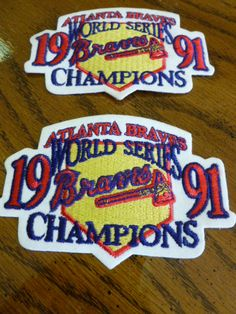 1cea50fc57a Atlanta Braves World Series 1991 Braves Champions Patches Set of 2 by  2xisnice… Atlanta Braves