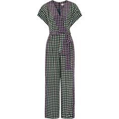 Diane von Furstenberg Gingham silk crepe de chine jumpsuit (3,335 CNY) ❤ liked on Polyvore featuring jumpsuits, silk jumpsuit, wrap jumpsuit, wide leg jumpsuits, diane von furstenberg jumpsuit and summer jumpsuits