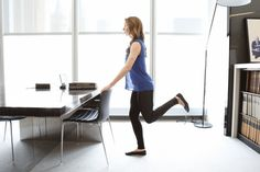 Stand holding the edge of a desk or table for support, feet together and facing forward. Bend one leg behind you, flexing the foot. Raise your heel up a few inches, then release slightly and press your foot directly back behind you. Continue to alternate between lifting your heel up, then pressing it back (one of each equals one set) 20 to 30 times, keeping your bent knee behind the standing leg the entire time. Switch sides.