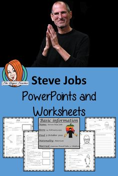 From my Scientists and Inventors resources collection – Let's learn about Steve Jobs This lesson teaches children about Steve Jobs. There is a detailed 40 slide presentation on his life, achievements and facts about him. There are also differentiated, 7 page, Google Slides worksheets to allow children to demonstrate their understanding. #teaching #inventors #googleclassroom Lessons For Kids, Science Lessons, Teaching Science, Teaching Kids, Laurene Powell Jobs, Study History, Inventors, Google Classroom, Steve Jobs