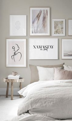 Create your wall of frames with Desenio – Clem Around The Corner – bedroom design trendy poster posters wall of namastay frames in bed black and white board fitted sheets beige linen wooden coffee table stack of books beige cup design and trendy Bedroom Wall, Bedroom Furniture, Bedroom Decor, Wall Decor, Wall Art, Gallery Wall Bedroom, Inspiration Wand, Bedroom Inspiration, Deco Design