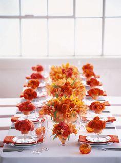 cheerful citrus palette Modern Wedding Centerpieces, Wedding Table Decorations, Orange Centerpieces, Floral Decorations, Stage Decorations, Orange Power, Place Settings, Table Settings, Deco Orange