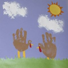Turkeys from Handprints - I did this with my 1-2nd grade -- this year I'll be doing it with the three yr olds... I have precut the grass, sun, and sun rays out of construction paper. I'll help them do handprint and I'll paint on the legs/beak. They'll glue the grass and sun and use a sponge to paint the clouds. I used googly eyes last time to have different textures too