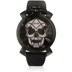 Gagà Milano Men Bionic Skull Black Steel Watch (123.135 RUB) ❤ liked on Polyvore featuring men's fashion, men's jewelry, men's watches, male clothes, watches, black, mens leather band watches, mens skull watches, stainless steel mens watches and mens watches jewelry