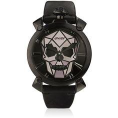 Gagà Milano Men Bionic Skull Black Steel Watch ($2,075) ❤ liked on Polyvore featuring men's fashion, men's jewelry, men's watches, black, mens watches jewelry, mens leather band watches, mens skull watches, mens stainless steel watches and mens watches