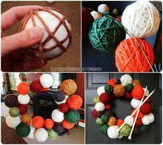 Yarn Ball Wreath Tutorial