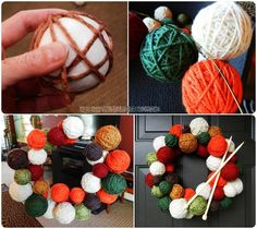 Yarn Ball Wreath Tutorial - Red and Green for Christmas. Orange and Black for Halloween etc...