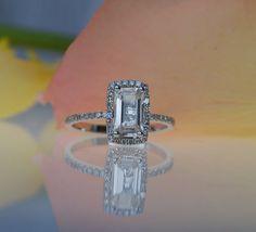 128ct Cushion emerald cut white sapphire 14k by EidelPrecious, $1500.00
