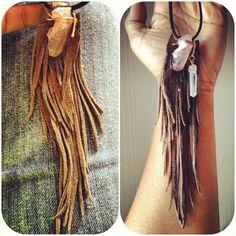 Handmade Leather & Stone Fringe necklaces by Rework