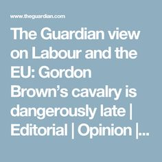 The Guardian view on Labour and the EU: Gordon Brown's cavalry is dangerously late Gordon Brown, Eu Referendum, My Opinions, The Guardian, Editorial