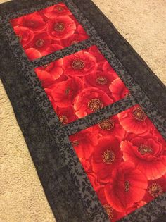 Poppy table runner red and black table runner quilted table