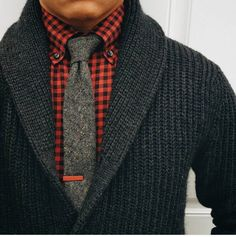 Stitch Fix Fall Men - chunky warm sweater with red check collared shirt, and love the tie