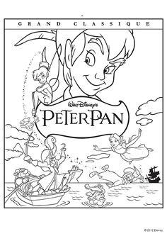Coloriage de l'affiche du dessin animé Peter Pan