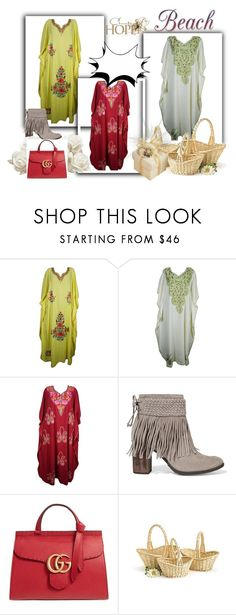 """""""Hippie Kashmiri Caftan Maxi Dress"""" by era-chandok ❤ liked on Polyvore featuring Schutz, Gucci and Vie Active"""