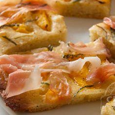 Flatbread with Peaches, Basil and Prosciutto