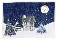 Sharon Blackman: Where the tree tops glisten. Christmas Applique, Christmas Sewing, Christmas Embroidery, Freehand Machine Embroidery, Free Motion Embroidery, Fabric Postcards, Fabric Cards, Small Quilts, Mini Quilts