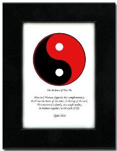 "5x7 Black Satin Frame with Yin Yang (Red/Black) by Oriental Design Gallery. $31.95. Frame is made of eco-friendly composite wood materials. Each print is mounted on acid-free mat board by using acid free adhesive. Easel and hangers included. Wall Hangers must be installed by customer. Instructions included. Made in USA. Place on Wall or Desk. This is a Yin Yang Print with an original Chinese Proverb written by Qiao Xiao. The proberb is entitled ""The Balance of Tiao..."