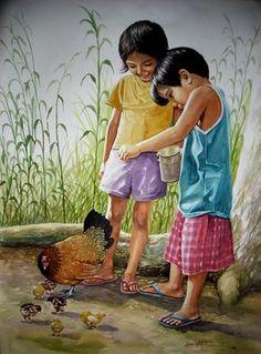 Portrait Painting - Enjoy Your Meal by Jose Vistan Art Village, Indian Village, Watercolor Landscape, Watercolor Paintings, Art Sketches, Art Drawings, Filipino Art, Filipino Culture, Childhood Memories 90s