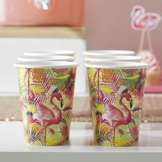 Were loving the bight colourful print on these flamingo party paper cups! Perfect for a fun summer get together! - Flamingo Fun at GingerRay.co.uk