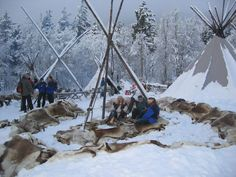 Reindeer skin is the best thing to use to sit on in the snow. In Norway we use them all the time. The photo's are from a camp in Norway. - From THE ESSENCE OF THE GOOD LIFE™ - http://www.pinterest.com/LeneGede/