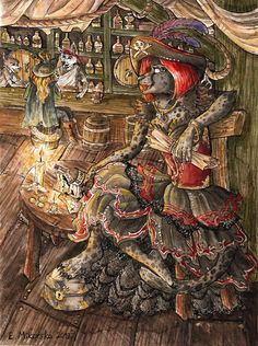 Commissioned art, featuring pirate lady in the tavern. Find me on furaffinity- snowsnow11, deviantart- snowsnow11