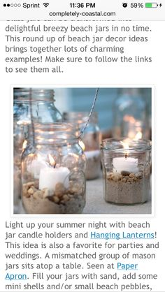 Centerpieces - sand rocks and candles