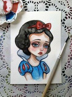 Disney art painting ideas pictures new ideas Arte Disney, Disney Art, Watercolor Disney, Watercolor Art, Disney Drawings, Cute Drawings, Snow White Art, Pop Art Drawing, Art Sketches