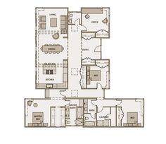 Stillwater Dwellings Floorplan sd142.  This four-bedroom 2300 sq.ft. home with spacious entry is organized by a strong axial diagram. The sky lit gallery hall is a wonderful counterpoint to the soaring space created by the mono pitch roof at the open living area. The tall windows and glass doors of the master bedroom and expansive living room open up to the outdoor patio and view beyond. To view a more detailed plan visit: stillwaterdwellings.com